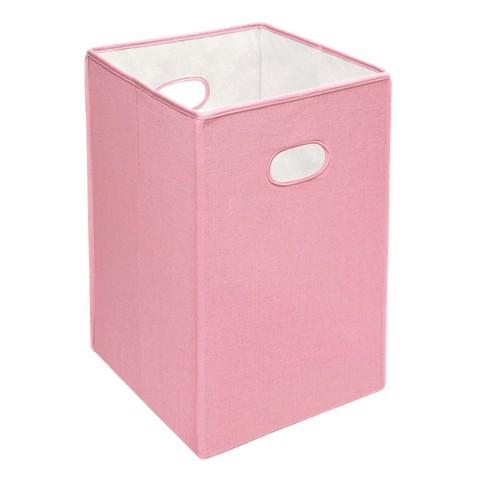 Badger Basket Folding Hamper Pink