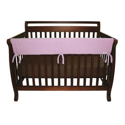 "Set of Two Fleece 27"" Side Rail Cover for Convertible Crib- Pink"