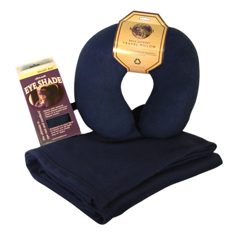 Fleece Blanket/Pillow/Eyeshade Set - Navy