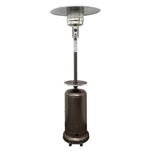 garden sun tall propane patio heater with table hammered bronze