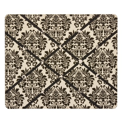 Damask Floral French Bulletin Board - Black/Cream