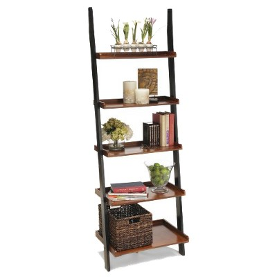 2 Tone Ladder Bookcase Cherry/Black - Convenience Concepts