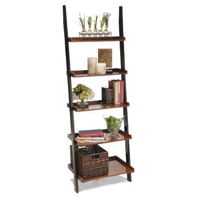 2 Tone Ladder Bookcase Cherry/Black - Convenience Concepts