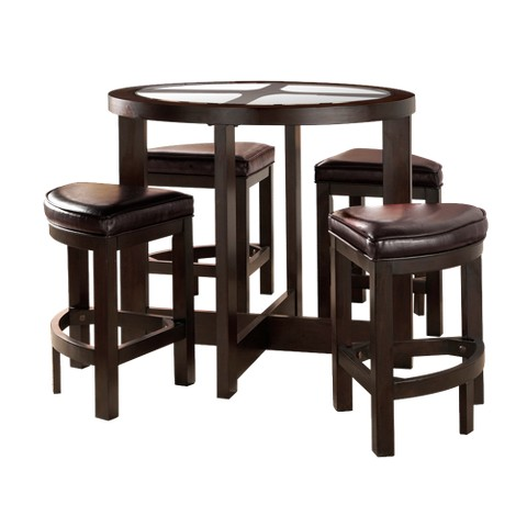 5 Piece Counter Height Set Wood/Espresso - Homelegance