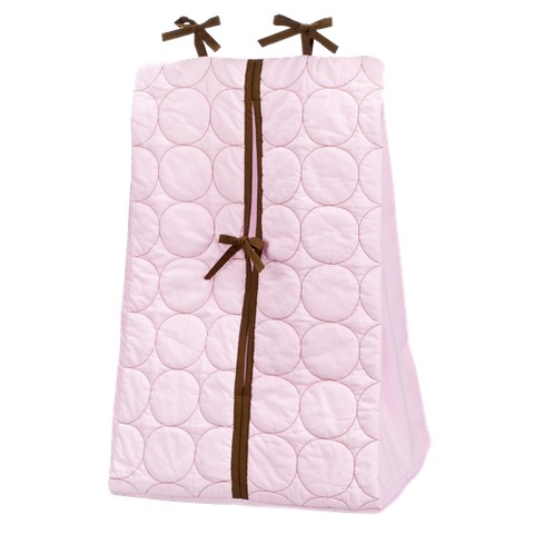 Bacati Quilted Diaper Stacker - Pink/Chocolate