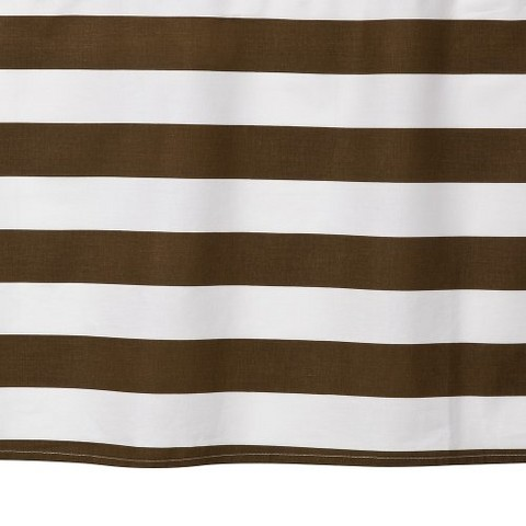 Bacati Stripes Printed Crib Skirt - White/Chocolate