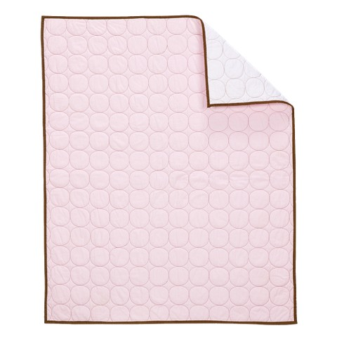 Bacati Quilted Baby Quilt - Pink/Chocolate