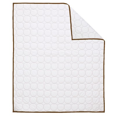 Bacati Quilted Baby Quilt - White/Chocolate