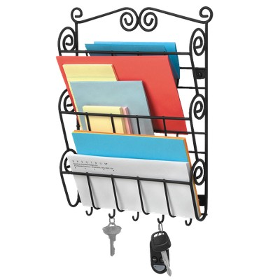 Scroll Wall Mount Letter Holder - Black