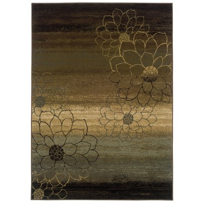 """Abstract Floral Area Rug - Brown (3'10""""x5'5"""")"""