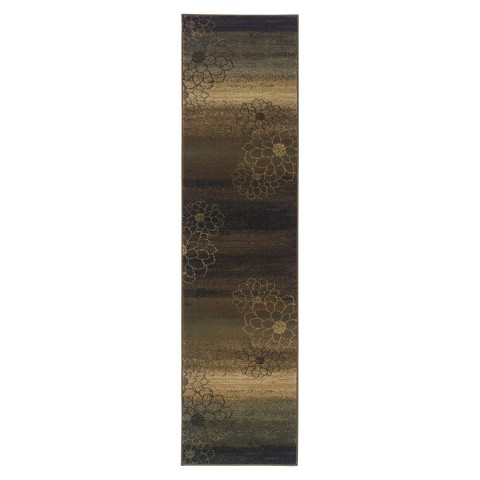 Abstract Floral Area Rug - Brown