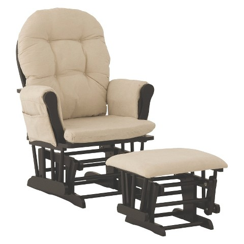 Stork Craft Hoop Black Glider and Ottoman