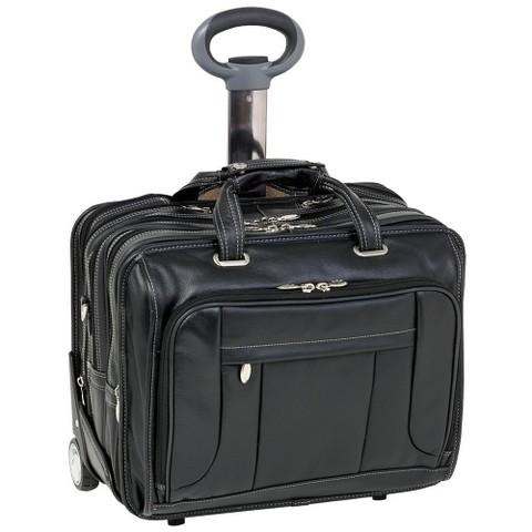 McKlein West Town Pebble-Grain Calfskin Leather Computer Bag - Black