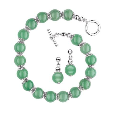 Genuine Jade Beaded Bracelet and Earring Set