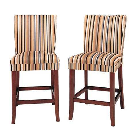 """Sasha Upholstered Stripe Fabric 24"""" Counter Stool (Set of 2)"""