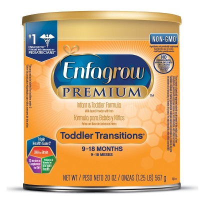 Tailored for toddlers 9-18 months. Enfagrow Toddler Transitions has: DHA and ARA to help support brain