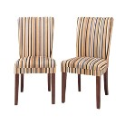 Sasha Upholstered Stripe Fabric Dining Chair (Set of 2)