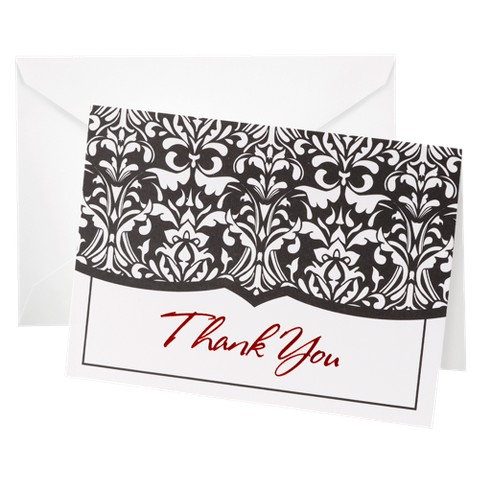 Damask Design Wedding Thank You Cards (50 count)