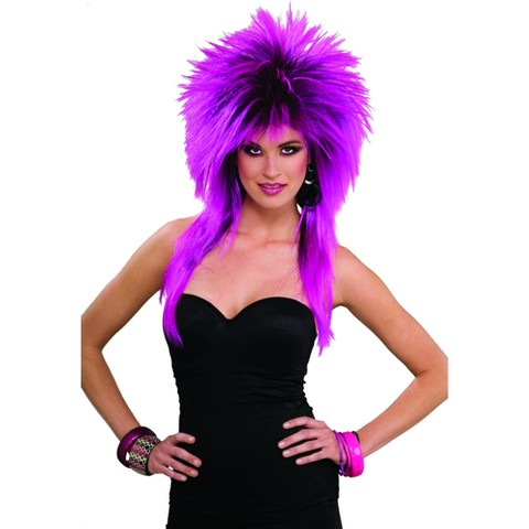 Women's 80's Purple Pizazz Wig