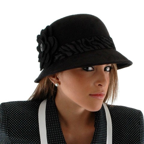 Women's Cloche Hat Black