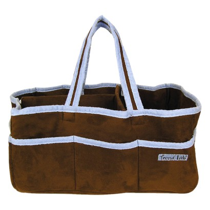 Brown with Blue Trim Ultra Suede Storage Caddy
