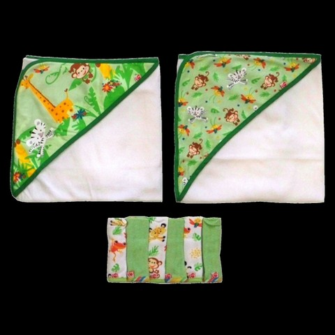 Fisher-Price 8 piece Gift set - Rainforest (2 Hooded Towels, 6 Washcloths)