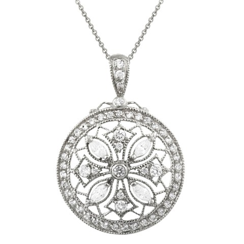 """Sterling Silver Cubic Zirconia Snowflake Medallion Pendant Necklace 18"""""""