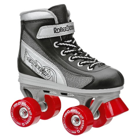 Boy's Roller Derby Firestar Quad Skate - Black/ Silver/ Red