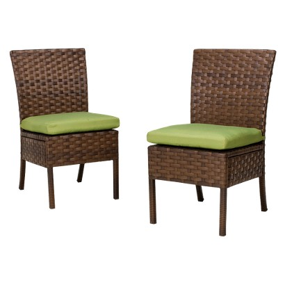 Belmont 2-Piece Wicker Patio Armless Dining Chair Set