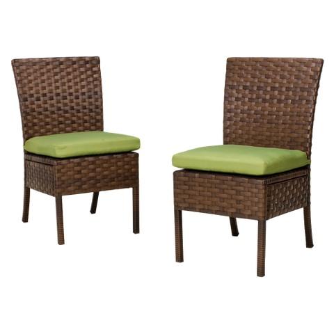 Belmont 2-Piece Wicker Patio Armless Dining Chair Set