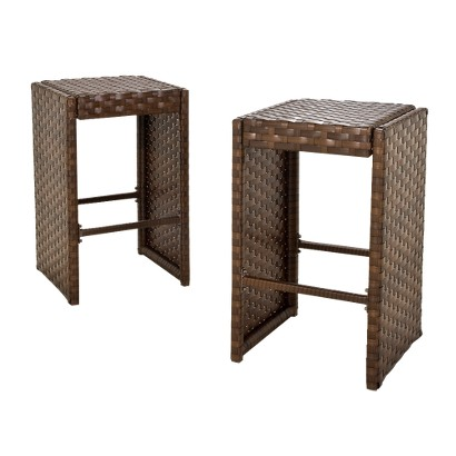 Belmont 2-Piece Brown Wicker Patio Bar Stool Set