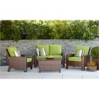 Belmont 4-Piece Brown Wicker Patio Thick Woven Conversation Furniture Set