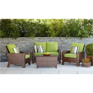 Belmont brown wicker patio conversation furniture for Belmont 4 piece brown wicker patio chaise lounge set