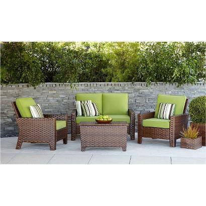 Belmont 4-Piece Brown Wicker Patio Thick Woven Conversation Furniture Set