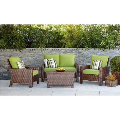 Belmont 4 Piece Brown Wicker Patio Thick Woven C Tar