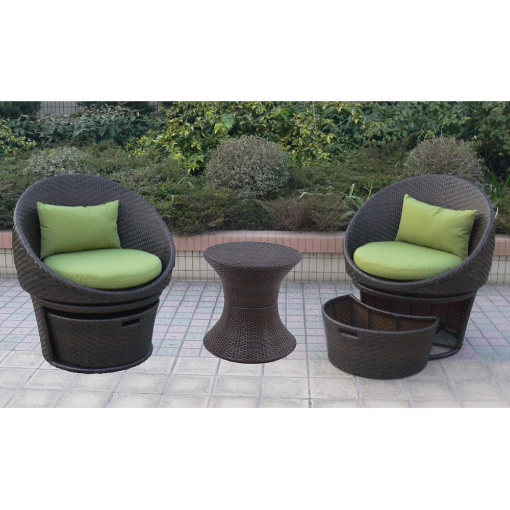 LOWREY 3 PIECE WICKER PATIO SWIVEL CHAT FURNITURE SET
