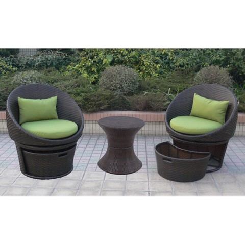 Lowrey 3-Piece Wicker Patio Swivel Chat Furniture Set