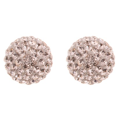 """Sterling Silver Champagne Crystal Ball Stud Earrings 10""""x10"""""""
