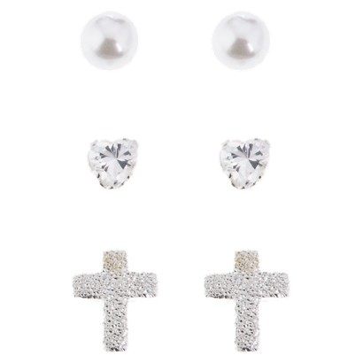 Girl's Sterling Silver Cubic Zirconia Earring Set - 3 Piece
