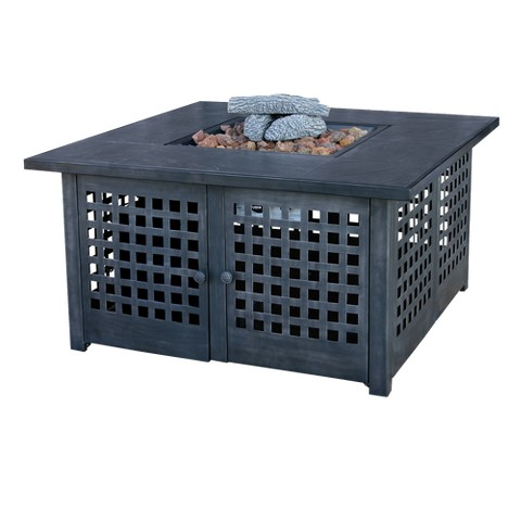 Gas Outdoor Fire Pit with Tile Mantel