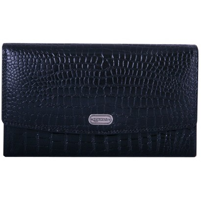 Women's Leatherbay Accordian Croc Leather Wallet - Black