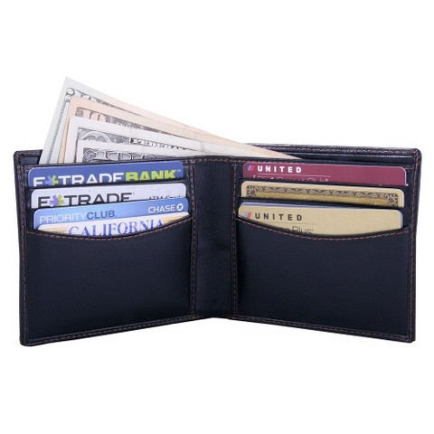 Leatherbay Classic Bi-Fold Leather Wallet - Black