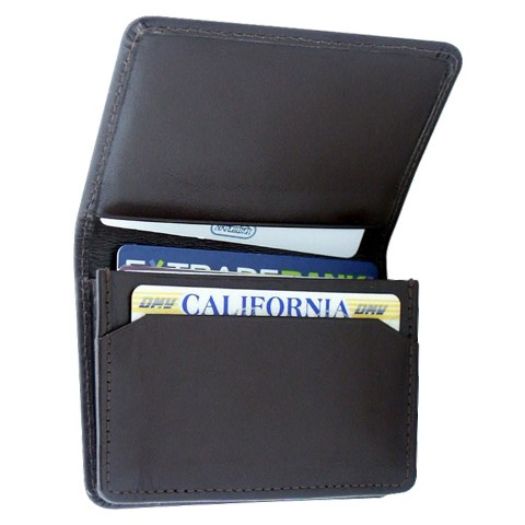 Leatherbay Flip Top Leather Wallet - Dark Brown