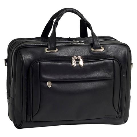 """McKleinUSA West Loop Expandable Double Compartment Briefcase - Black (17"""")"""