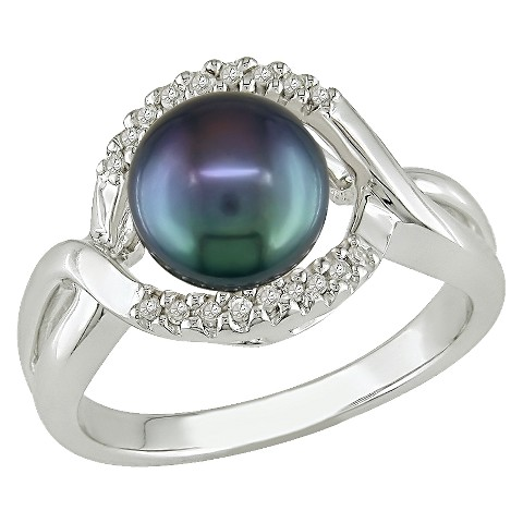 Black Freshwater Pearl with 0.06 CT. T.D.W.Diamonds Ring in Sterling Silver