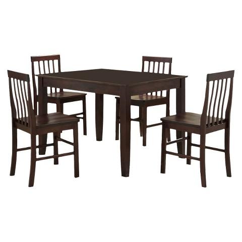 5 Piece Wood Dining Set - Espresso