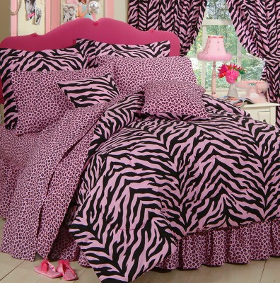 Zebra Print Bed in a Bag with Sheet Set - Pink/Black (Queen)