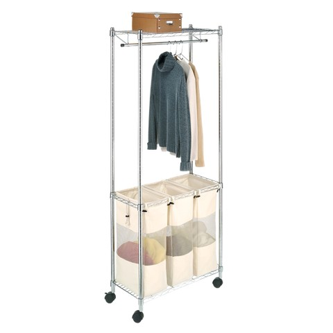 Whitmor Supreme Laundry Sorter with Garment Rack - Chrome