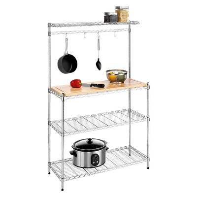 Kitchen Shelving Unit with Cutting Board and Baker's Rack