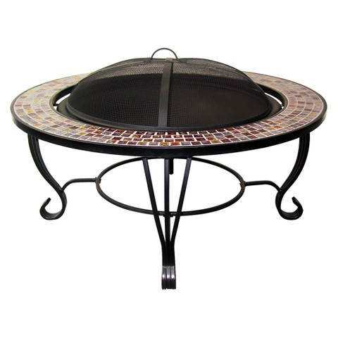 Round Mosaic Fire Table